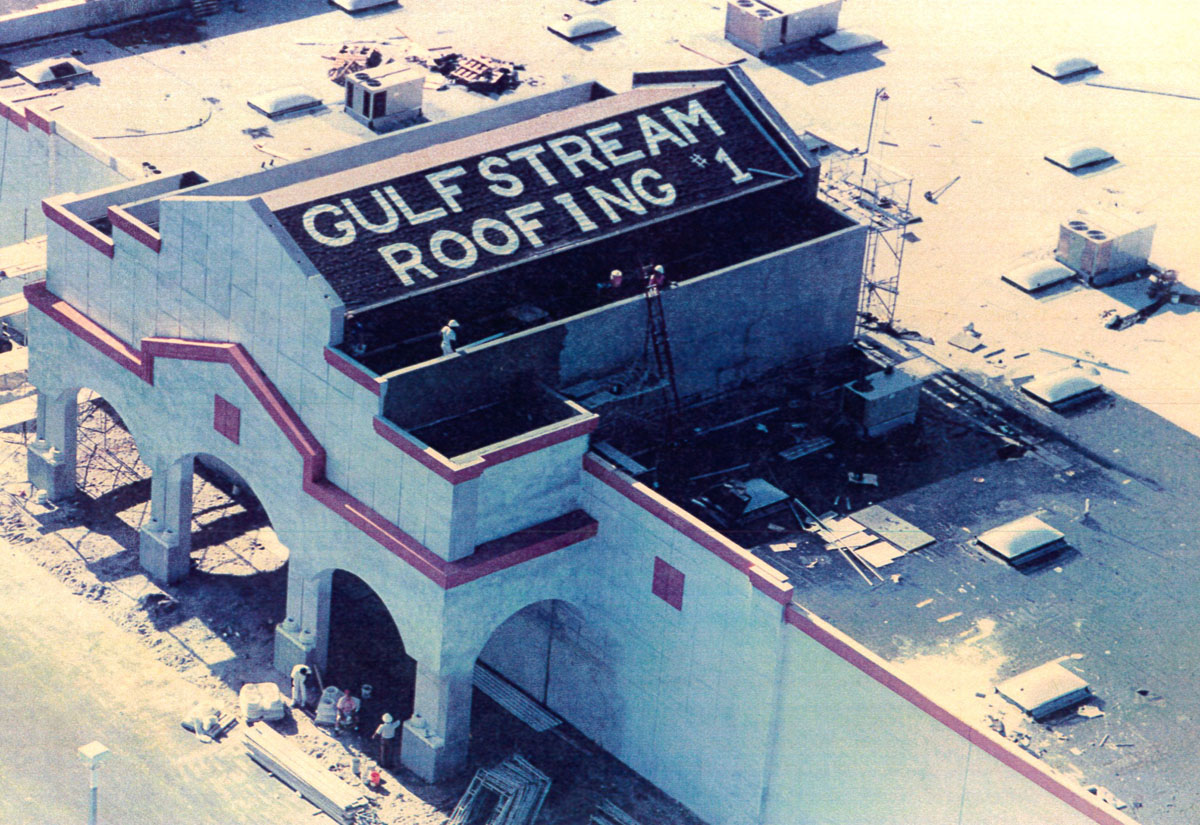 building with gulfstream roofing written on the roof